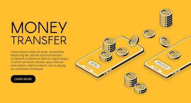 Ilustração de transferência de dinheiro da operação bancária em linha na aplicação do telefone móvel.