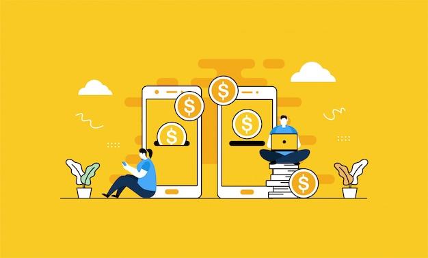 Ilustração de transferência móvel