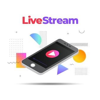 Ilustração de transmissão ao vivo com smartphone