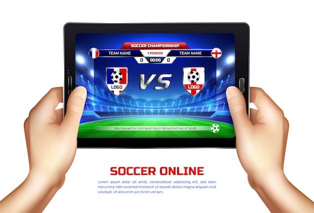 Ilustração de transmissão on-line de futebol