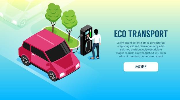 Ilustração de transporte ecológico com mulher carregando seu carro elétrico
