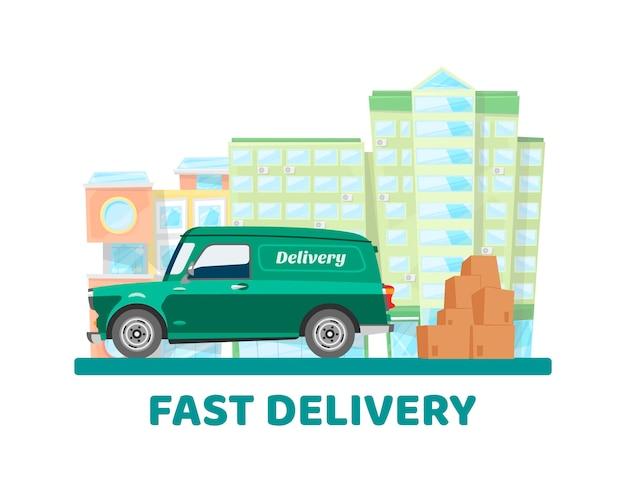 Ilustração de transporte móvel cidade entrega