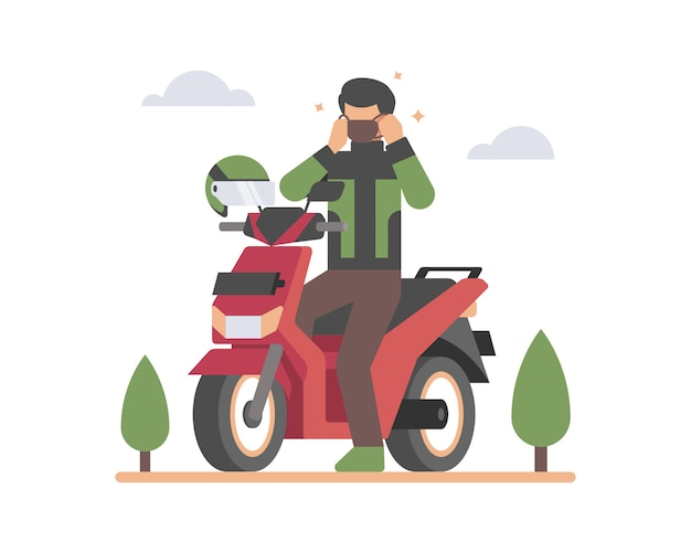 Ilustração de transporte online de bicicleta com máscara facial