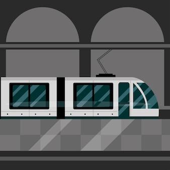Ilustração de transporte público da estação ferroviária do metrô