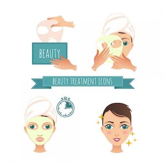 Ilustração de tratamento de beleza, aplicação de máscara facial