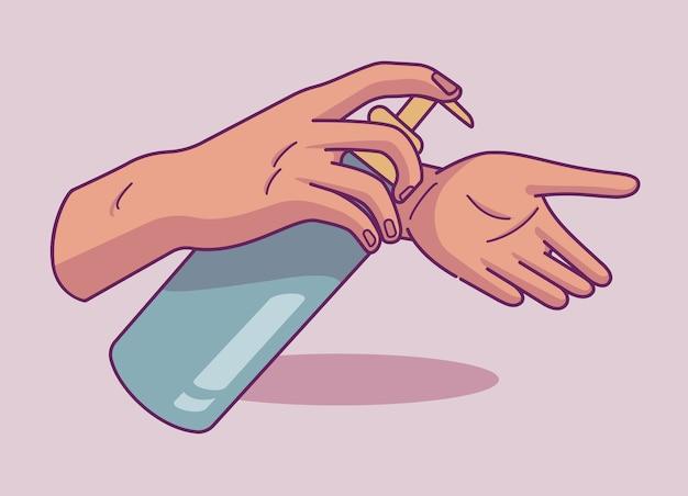 Ilustração de tratamento de mão com gel antibacteriano em estilo doodle. higiene das mãos. ideal para web, digital e muitos outros usos