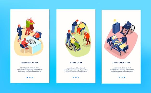 Ilustração de tratamento e cuidados para idosos e pessoas com deficiência