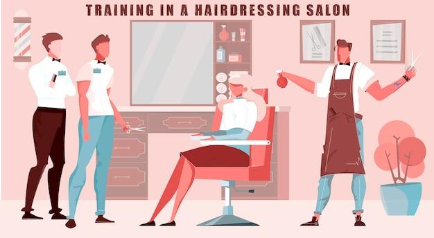 Ilustração de treinamento de barbearia com salão de cabeleireiro