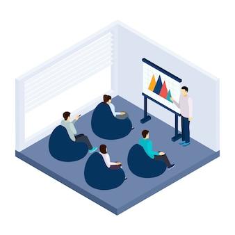 Ilustração de treinamento de coworking