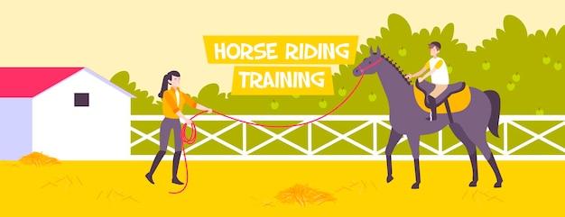 Ilustração de treinamento de equitação