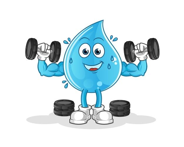 Ilustração de treinamento de peso com queda de água