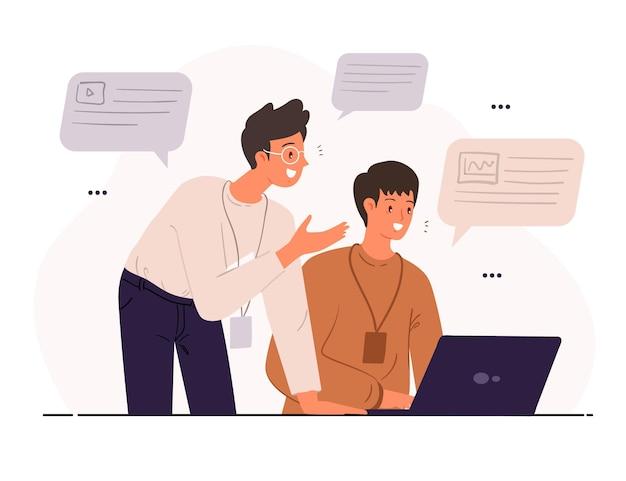 Ilustração de treinamento de trabalho de estágio