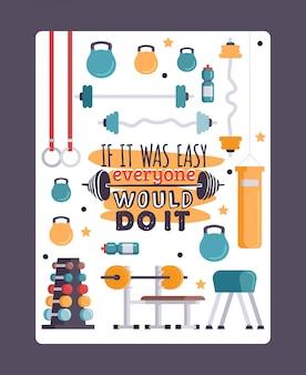Ilustração de treinamento inspirador, cartaz de ginásio com citações motivacionais
