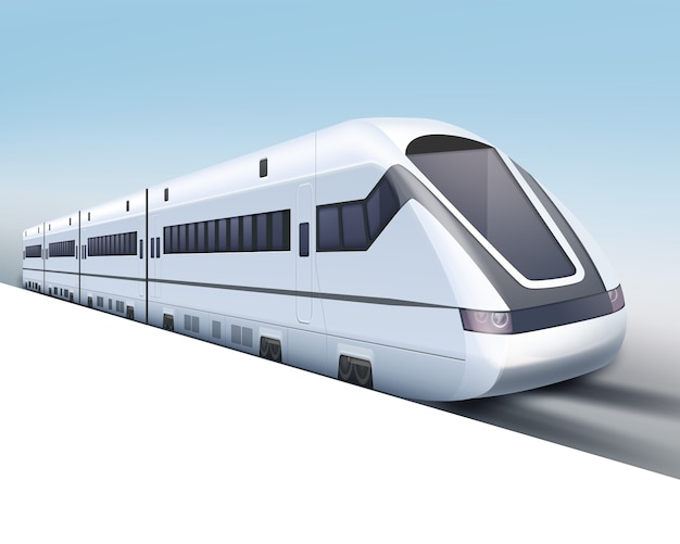 Ilustração de trem de alta velocidade realista em fundo gradiente azul