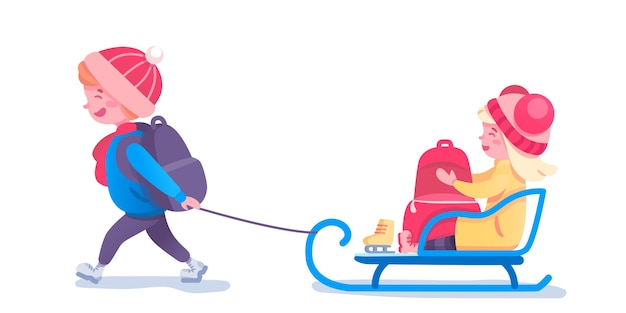 Ilustração de trenó de crianças felizes. crianças pequenas com personagens de desenhos animados de trenó. conceito de recreação da estação fria. amigos se divertindo juntos. ideia de lazer e diversão de inverno