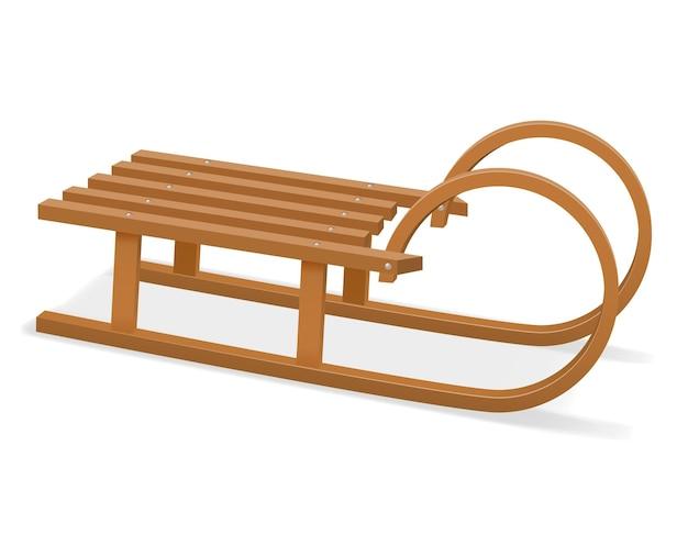 Ilustração de trenó de madeira para crianças isolada no branco