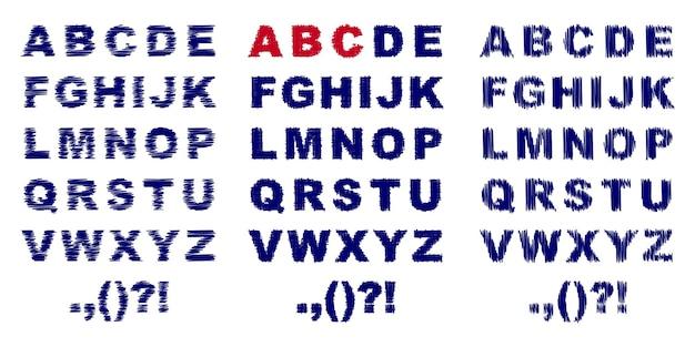 Ilustração de três alfabetos de doodle completos diferentes