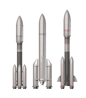 Ilustração de três foguetes espaciais diferentes