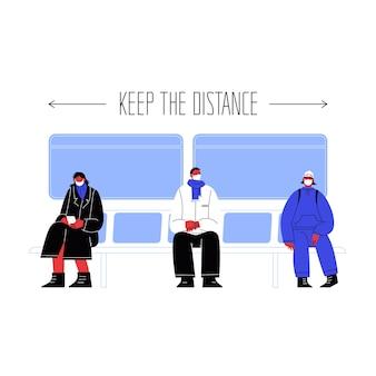 Ilustração de três personagens sentados em transporte público cobrindo rostos com máscaras, mantendo-se afastados uns dos outros.
