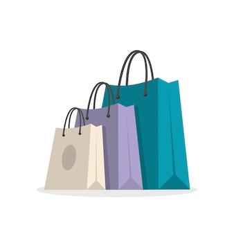 Ilustração de três sacolas de compras
