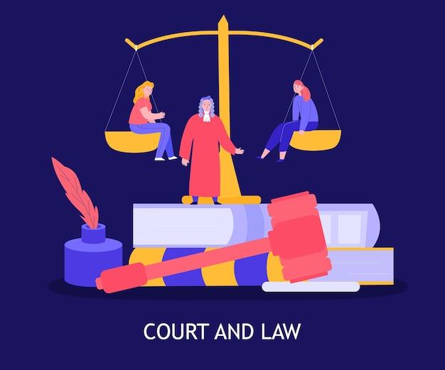 Ilustração de tribunal e lei
