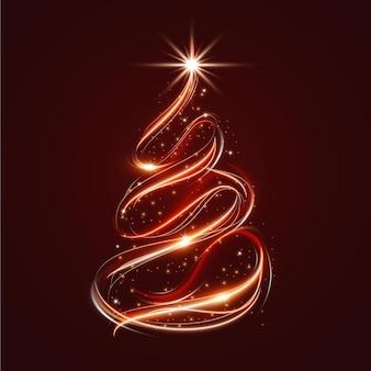 Ilustração de trilha de luz de árvore de natal