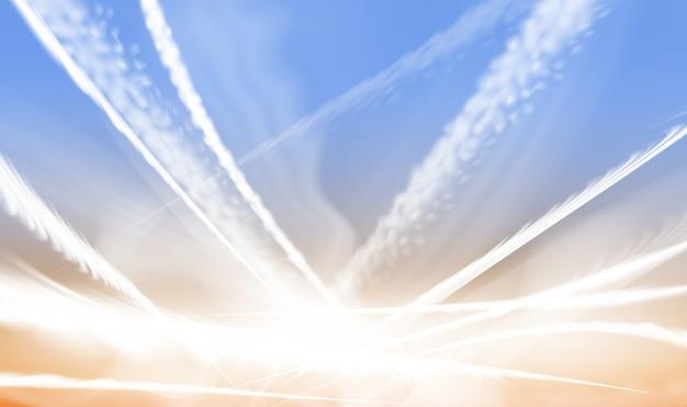 Ilustração de trilhas cruzadas de condensação de avião
