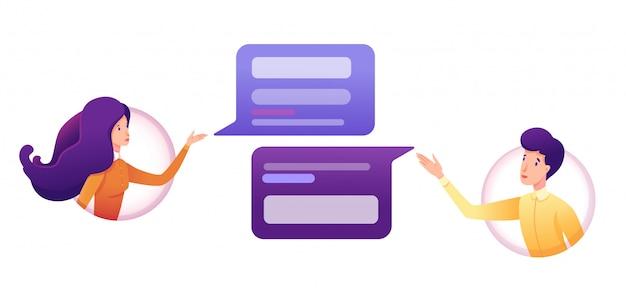 Ilustração de troca de mensagens com bolhas de menina, menino e discurso