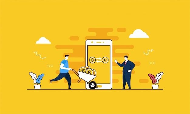 Ilustração de troca de moeda