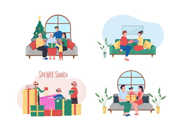 Ilustração de troca de presente de natal isolada
