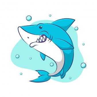 Ilustração de tubarão azul bonito dos desenhos animados