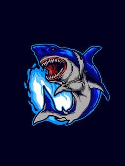 Ilustração de tubarão bravo