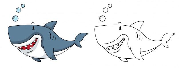 Ilustração de tubarão coloração educacional