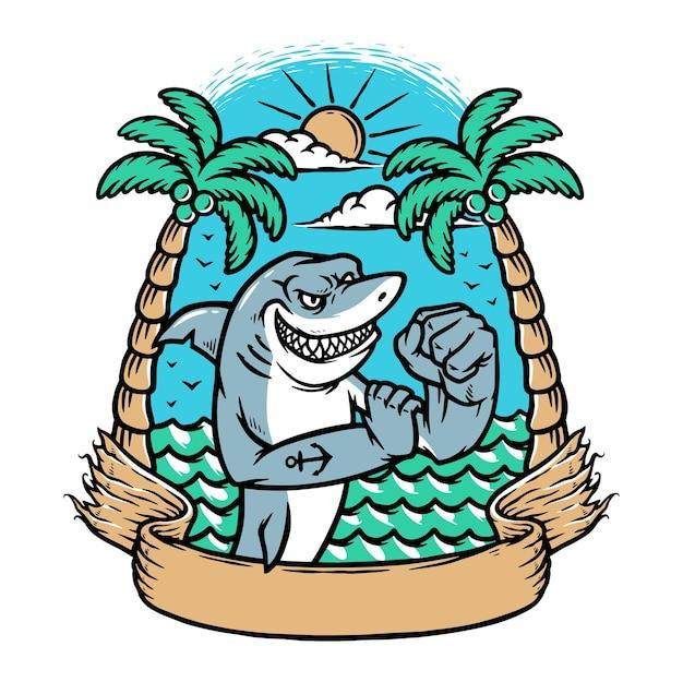 Ilustração de tubarão da guarda costeira
