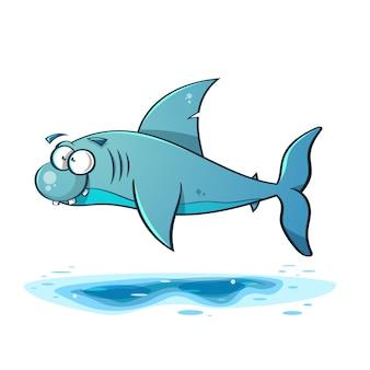 Ilustração de tubarão de desenhos animados de linha preta.