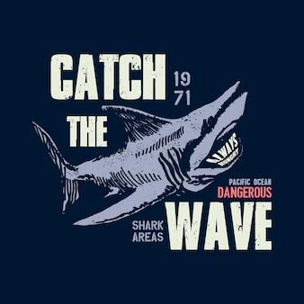 Ilustração de tubarão perigoso com erro de digitação
