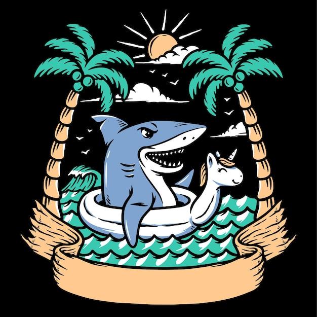 Ilustração de tubarão relaxando na praia