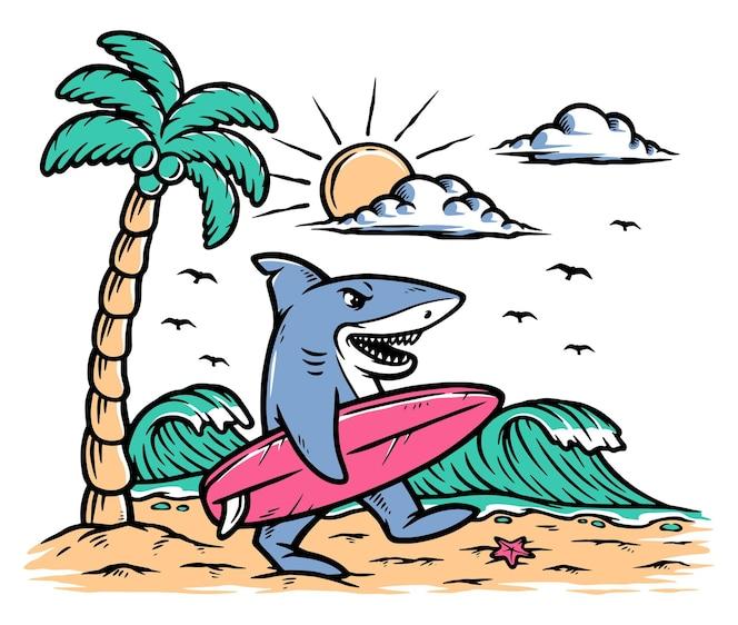 Ilustração de tubarão surfista