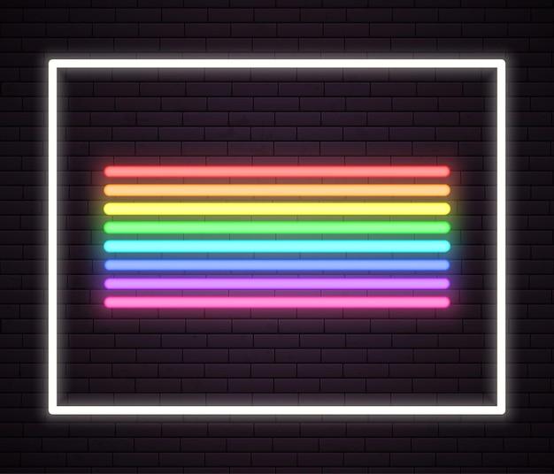 Ilustração de tubo de luz de néon arco-íris