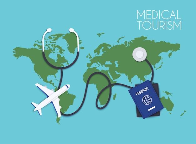Ilustração de turismo médico