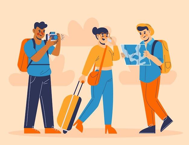 Ilustração de turistas planos desenhados à mão