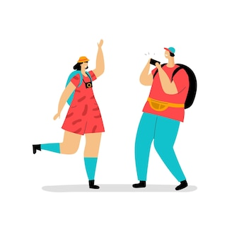 Ilustração de turistas planos