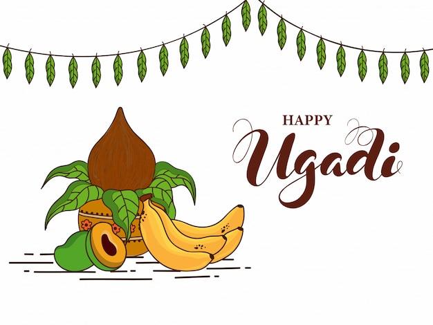 Ilustração de ugadi feliz com pote de adoração com frutas e manga folhas garland