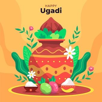 Ilustração de ugadi feliz desenhada à mão