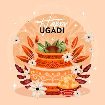 Ilustração de ugadi feliz em aquarela