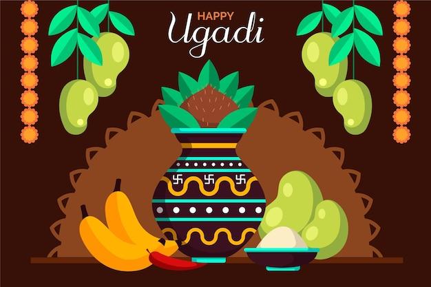 Ilustração de ugadi plana