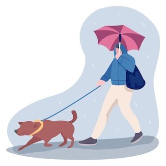 Ilustração de um adolescente andando no meio da estação chuvosa com um cão de estimação