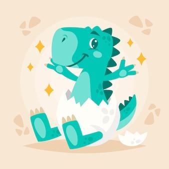 Ilustração de um adorável bebê dinossauro orgânico