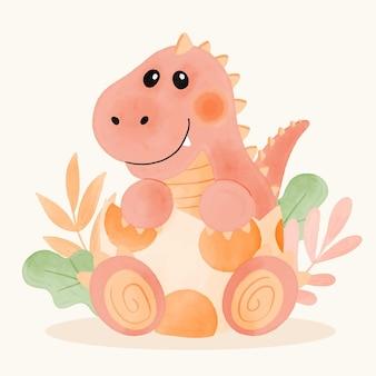 Ilustração de um adorável bebê dinossauro pintado à mão