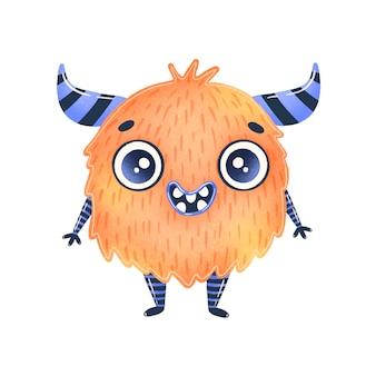 Ilustração de um alienígena bonito dos desenhos animados laranja. monstro fofo isolado no branco.